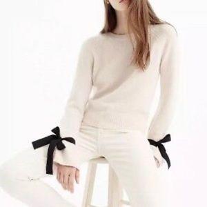 J. Crew tie bell sleeve pullover sweater cream